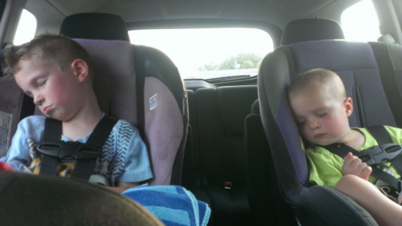 The boys did their requisite crashing once we got in the car.